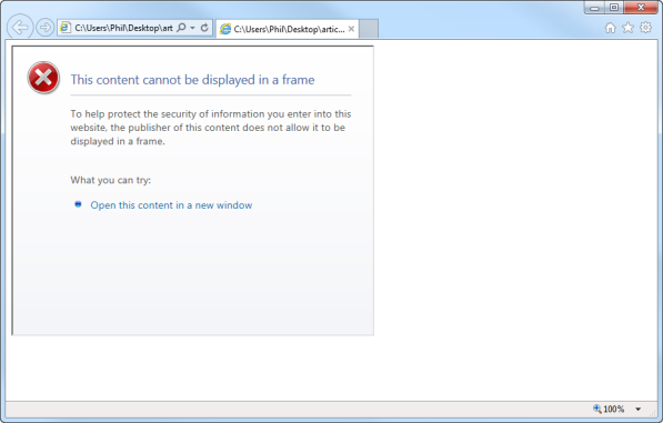 Internet Explorer displays an error message. (Firefox and Chrome do not render the page.)