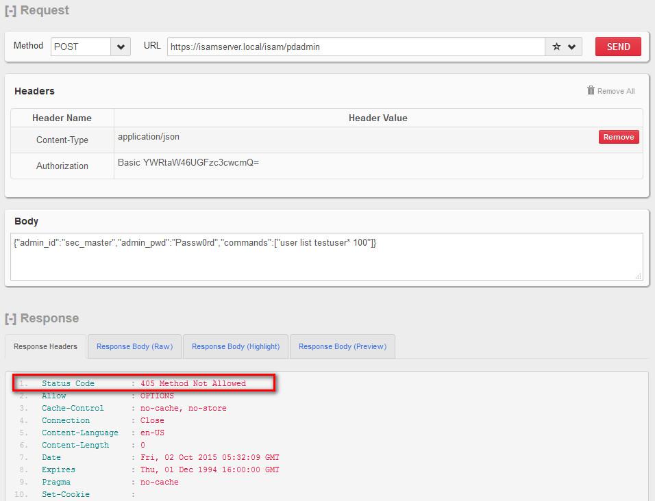 ISAM LMI REST API \u2013 HTTP 405 Method not Allowed Error \u2013 Philip Nye