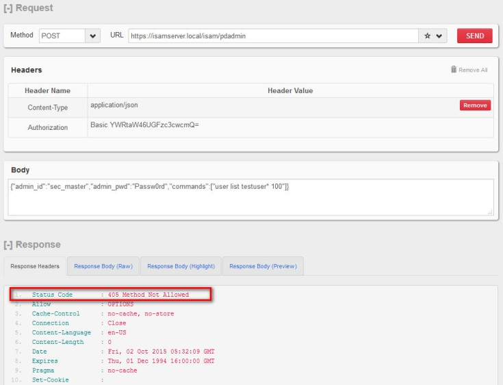 ISAM LMI REST API – HTTP 405 Method not Allowed Error